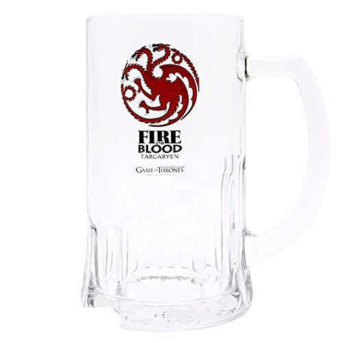 Boccale da birra da 500 ml, motivo: Game of Thrones - Fire & Blood Targaryen