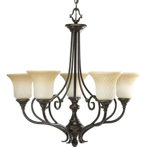 B003BNJKBS Progress Lighting P4238-77 5-Light Kensington Chandelier, Forged Bronze
