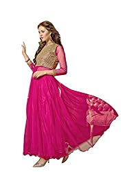 Vibes Womens Georgette Patch Work Anarkali Dress Material (V234-1003 _Pink _Free Size)