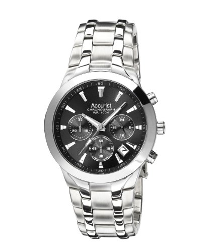 Accurist Men's Quartz Watch with Black Dial Chronograph Display and Silver Stainless Steel Bracelet MB960B