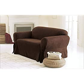 Soft suede short dining room chair slipcover in Living Room