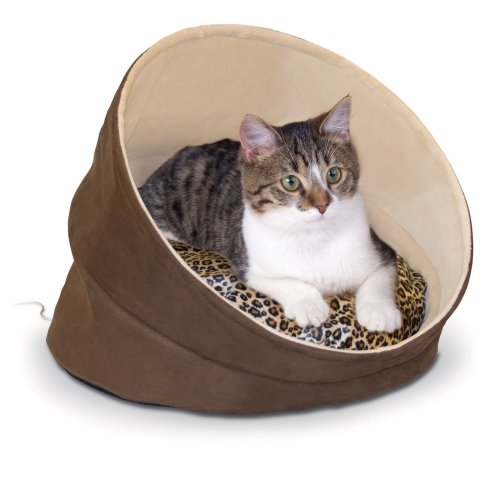 K&H Manufacturing Thermo-Kitty Cave, 17-Inch Round, Chocolate, Tan, Leopard