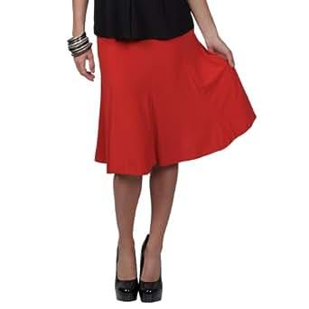 Brinley Co Womens Elastic Waist Stretch Knit Flare Skirt