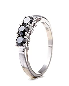 Silvancé - Women's Ring - 925 Sterling Silver - Genuine Black Diamond - R4000BD51_SSR_17