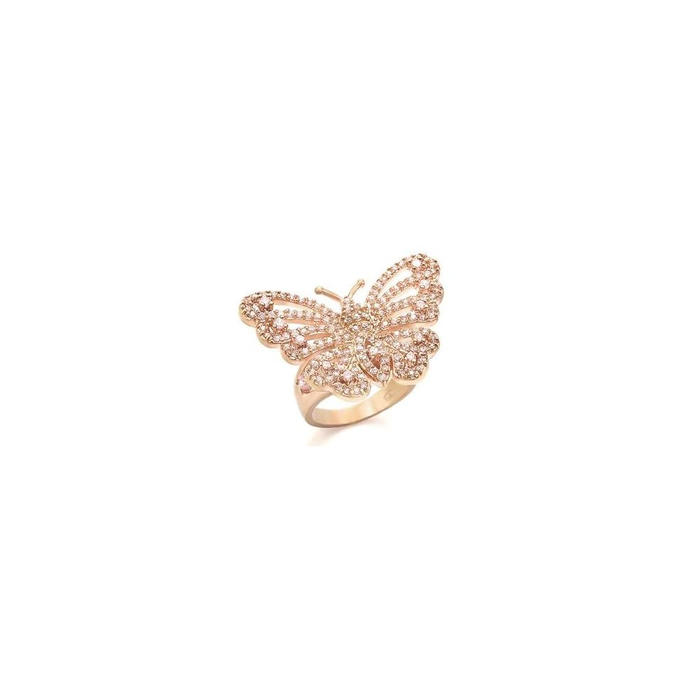 Size 9 Butterfly Rose Cubic Zirconia Brass Rose Gold Plated Ring