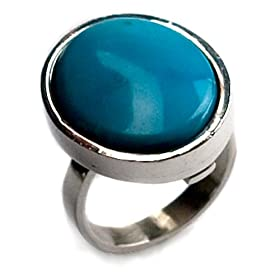 Genuine Turquoise and Sterling Silver Medium Ring