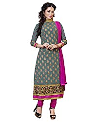 Lookslady Embroidered Grey Georgette Heavy Border Dress Material