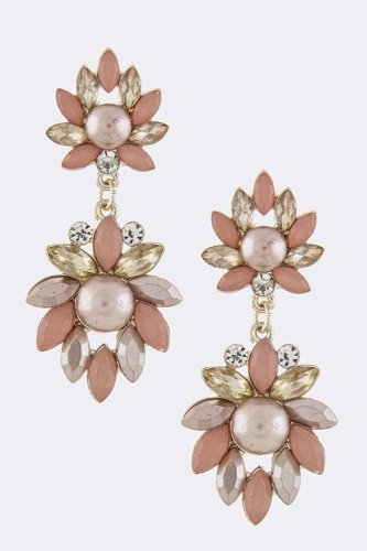 Baubles & Co Acrylic Jewel Floral Drop Earrings (Pink) front-931161