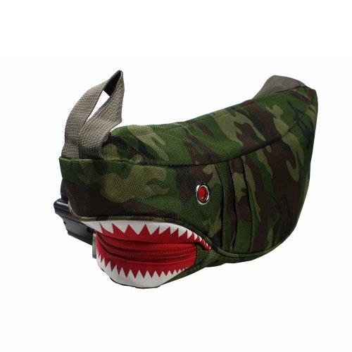 [Cute Shark] Army Green Multi-Purposes Fanny Pack / Back Pack / Travel Lumbar Pack