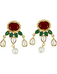 Gehnamart Yellow Gold Plated Pearl And Multistone Stud Earring