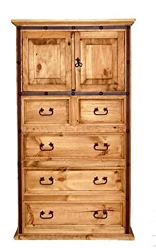 Hierro Iron Chest of Drawers, Rustic, Western, Real Wood, Tall Dresser