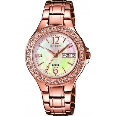 Casio SHE-4800PG-9AUER - Reloj de pulsera Mujer, Acero inoxidable, color Oro Rosa
