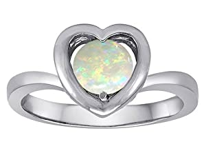 Original Star K(tm) Heart Engagement Promise of Love Ring with 7mm Round Created Opal in 925 Sterling Silver Size 7