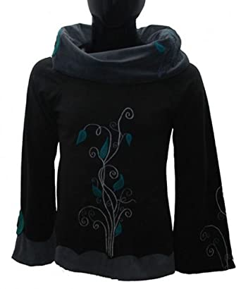 Boho Fleece Pullover mit Rollkragen aus Samt schwarz/grau, Size/Größe:34
