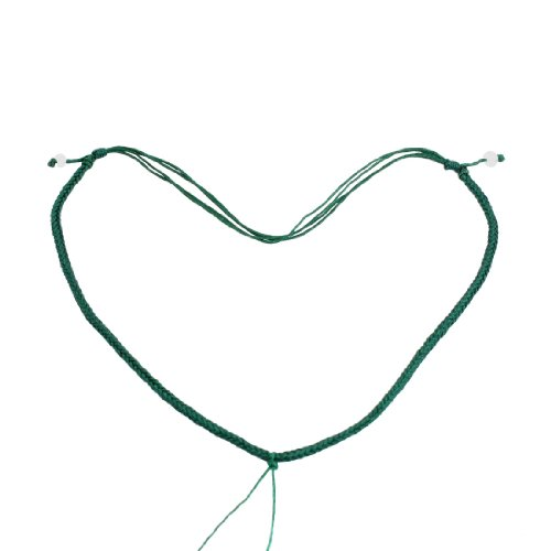 Rosallini 5 Pcs Dark Green Braid String Pull Line Closure Beaded Necklace