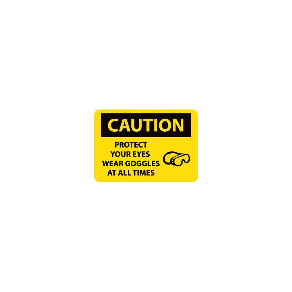 NMC C588AB OSHA Sign, Legend CAUTION   PROTECT YOUR EYES WEAR GOGGLES AT ALL TIMES with Graphic, 14 Length x 10 Height, Aluminum, Black on Yellow