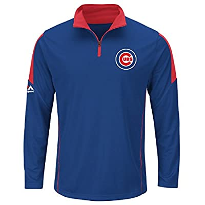 Chicago Cubs Majestic Quarter Zip Status Inquiry Pullover Synthetic Wind Shirt