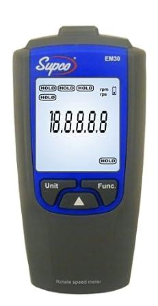 """Supco EM30 Tachometer, 2.4"""" Length x 1.2"""" Width x 4.7"""" Height, 100 to 30000 rpm"""