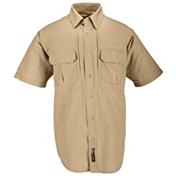 5.11 Tactical #71152 Cotton Tactical Short Sleeve Shirt (Coyote Brown, X-Small)