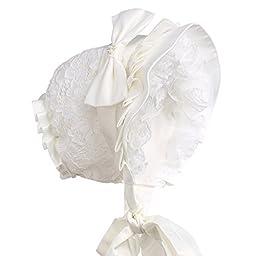 Hanakimi® Lace Edge Christening Bonnet Handmade Ivory (Newborn - 3 Years) (M/12M)
