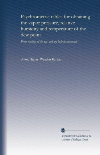 Psychrometric tables for obtaining the vapor pressure, relative humidity and temperature of the dew point: From readings of the wet- and dry-bulb thermometers