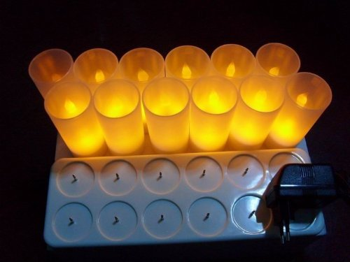 Backto20s® Luxury Set of 12 Realistic Rechargeable LED Flameless Tea Light Tealight Candles with 12-slot Recharging Station and 12 Frosted Holder Votives
