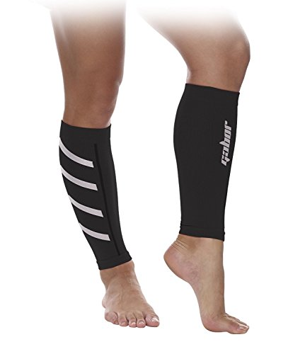 Gabor Fitness Graduated 20-25mm Hg Compression Running Leg Sleeves, X-Large, Black
