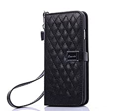 TOTU Luxury Classic Plaid Flip PU Leather Stand Case ID Card Flot Pocket for iPhone6 6S 4.7'' (Black)