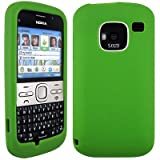 Wayzon Green Nokia E5 Case Cover Skin Pouch Shell Plain Silica Rubber