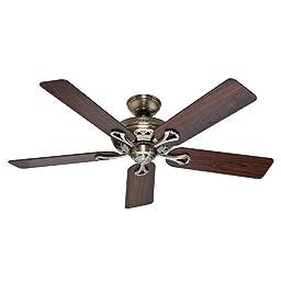 Hunter Fan Company 53105 The Savoy 52-Inch Ceiling Fan with Five Rosewood/Medium Oak Blades, Antique Brass