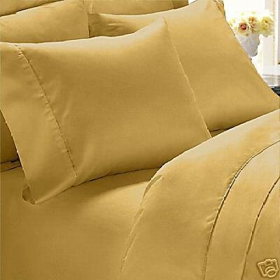 """800 Tc Solid 1 Pc Fitted Sheet Gold Color Full Size Fits Mattress Upto 21"""" Deep front-819842"""