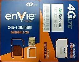 Envie Mobile Triple Cut Nano / Micro / Standard SIM Card w/ $45 Month. Unlimited Call/Text/ 3GB 4G LTE Data Verizon Preloaded Prefunded International Prepaid Kit($45 Monthly Plan)