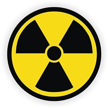 (4 PACK) NUCLEAR RADIATION Symbol vinyl Hard Hat Helmet decal - size: 2