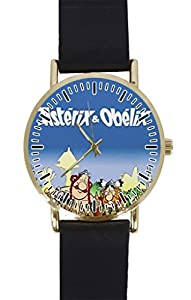 OBELIX village neoprene Custom Design Gold Dial and Black Leather Band Quartz Movement Watch By-Ccilu