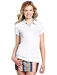 Dickies Girl Juniors Short Sleeve 2 Button Pique Polo,White,Large