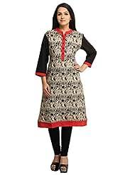 Designer Black Off White Printed Cotton Kurti For Women Free Size