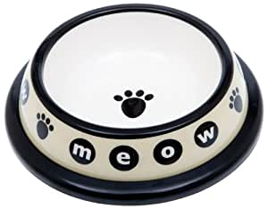 "Petrageous Designs Urban Kitty 4.25"" Plastic Pet Bowl, Meow"