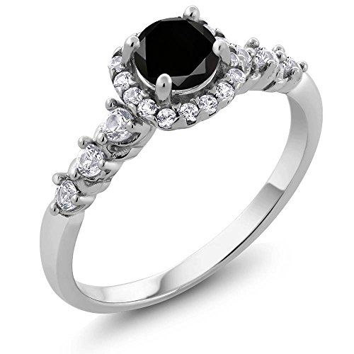 0.97 Ct Round Black Diamond and White Topaz 925 Sterling Silver Engagement Ring