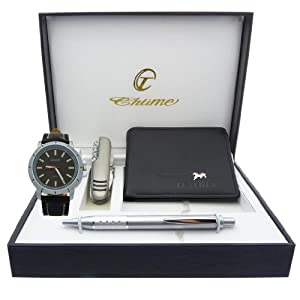 Montre Concept - Gift Box CCP - multifunction knife - wallet - men's Analog Watch - Black Synthetic Strap / Bracelet - Round Dial Black Background