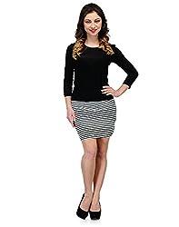 Colornext Cotton Lycra Black Dress for Women (Size: Medium)