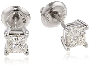 IGI-Certified Platinum Princess-Cut Four-Prong Diamond Stud Earrings (1 cttw, G-H Color, VS2 Clarity)