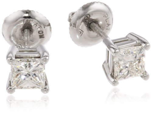 IGI-Certified Platinum Princess-Cut Four-Prong