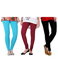 2Day Women's Cotton Turk/Maroon/Black Churidar Legging (Pack Of 3)