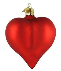 Old World Christmas Large Matte Red Heart Valentine's Day Glass Ornament