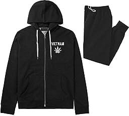 Country of Vietnam Weed Leaf Pot Marijuana Sweat Suit Hoodie Sweatpants Medium Black