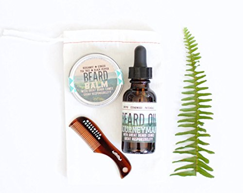 Beard Care Gift Set Kit, Mens Stocking Stuffer Christmas Gift Idea with Beard Oil Beard Comb & Beard Balm