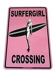 Surfergirl Crossing Street Sign - Pink
