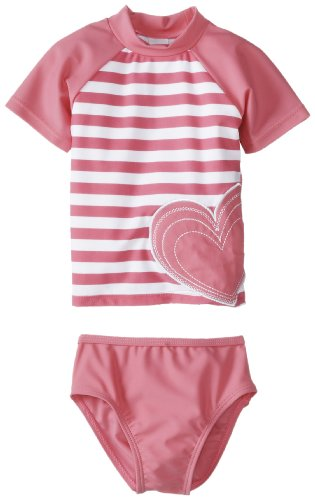 Little Me Baby-Girls Infant Stripe 2 Piece Rashguard, Pink/White Stripe, 12 Months front-905493