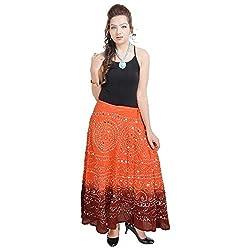 Prateek Retail Bandhej Exclusive Orange Cotton Skirt