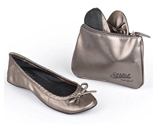 Sidekicks Women's Foldable Ballet Flats w/ Carrying Case, Silver, 10-11